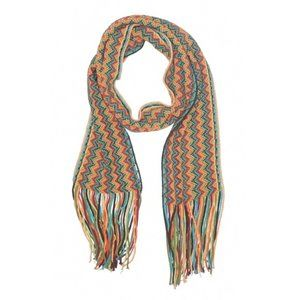 vibrant colorful rainbow knit scarf